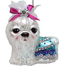 december diamonds blown glass ornament maltese pink bow home page