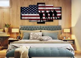 American Flag Decor Rustic American Flag With Soldiers 2 Army Rangers Military Art