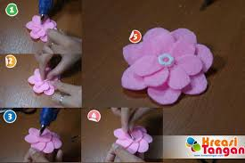 membuat kerajinan bros tutorial cara membuat bunga kancing dari kain flanel kreasi tangan