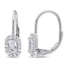 leverback earrings 98ctw white sapphire 10k white gold leverback earrings 8351566 hsn