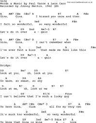 Vet Assistant Resume Song Lyrics With Guitar Chords For Gina Johnny Mathis 1962