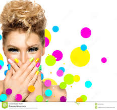 with fashion hairstyle and colorful nail polish stock photo