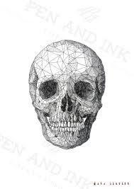 geometric skull pen and ink