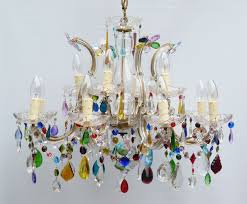 Multi Coloured Chandeliers 12 Arm 2 Tiered Multi Coloured S Shaped Therese The