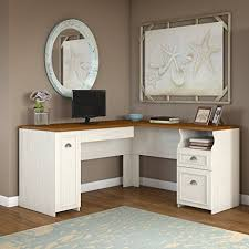 Pictures Of Antique Desks Amazon Com Fairview L Shaped Desk In Antique White Kitchen U0026 Dining