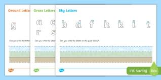 ground grass and sky letter writing activity sheet ground