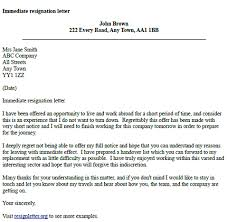 immediate resignation letter example resignation letter examples