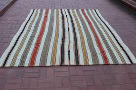 Colorful Kilim Rug Vintage Striped Kilim Rug Boho Rug White Rug Tribe Rug