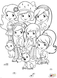 strawberry shortcake and friends coloring page free printable