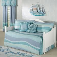 fresh beach themed comforters with ombre blue and grey colors in