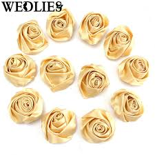 gold satin ribbon 50mm 12pcs gold satin ribbon flower diy wedding bouquet bunch