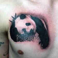 sweet looking colored chest tattoo of sad panda bear