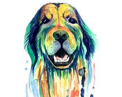 dog card golden retriever watercolor painting illustration