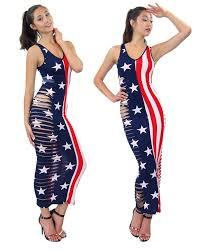 Flag Dress Slashed Destroyed Side Cutted Patriot American Flag Printed Maxi
