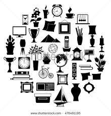 home decor line silhouette home decor set accessories icons stock vector 476491195