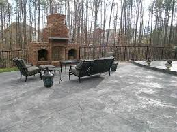 Textured Concrete Patio by Brick Fireplace And Custom Stamped Patio Otg On The Go Custom