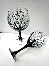 wine glasses painted trees pair of tree wine glasses painted