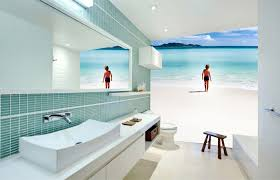 Mirrored Bathroom Wall Tiles - bathroom ideas beach mural bathroom wallpaper with wooden bench