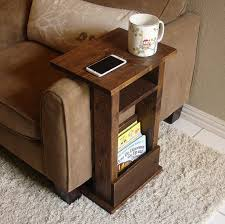 couch arm coffee table sofa chair arm rest table stand ii with shelf and storage pocket for