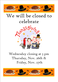 thanksgiving hours closed thursday friday