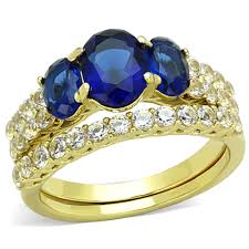 14k gold wedding ring sets artk1720 s oval cut blue montana aaa cz 14k gold plated