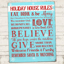 Family House Rules by Valerie Pullam Designs Christmas Subway Art Print Holiday