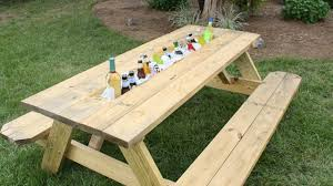 Plans For Picnic Table With Attached Benches by How To Make A Picnic Table Drink Trough Today U0027s Homeowner