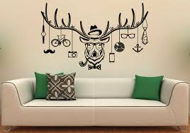 deer hipster wall decal deer antlers vinyl stickers wild