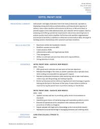 Hotel Resume Format How To Write A Hotel Front Desk Resume Online Resume Builders