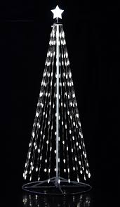 108 9 ft outdoor white led cone tree w collapsible base with