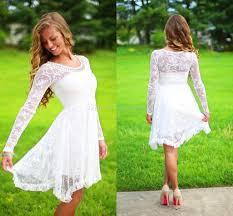 Short Wedding Dresses Discount Long Sleeves Lace Short Wedding Dresses Boho Bridal