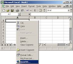 ms excel 2003 create a hyperlink to another cell