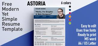 Free Resume Templates Microsoft Astoria Modern Yet Simple Free Resume Template