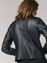 biker waistcoat blue nappa leather biker jacket women massimo dutti