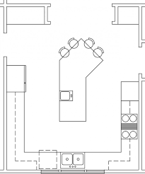 fascinating u shaped kitchen with island floor plan and breakfast