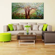 modern landscape big trees flowers oil painting canvas art spring