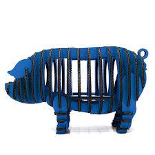 blue 3d puzzle piggy toy model paper craft kids diy art