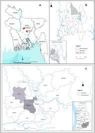 Map Of Bangladesh Map Of Bangladesh Showing A Dhaka And Mirzapur B Dhaka City