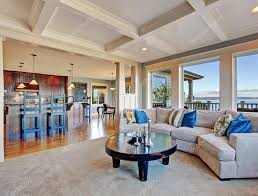 open floor plan houses luxury house with open floor plan coffered ceiling carpet and