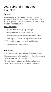 Act   Scene    Intro to Faustus Synopsis Introduction to Faustus and his story in SlidePlayer