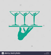martini illustration waiter hand holding tray with martini glasses icon gray