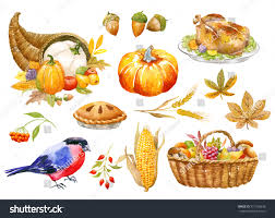 thanksgiving autumn clip watercolor stock illustration