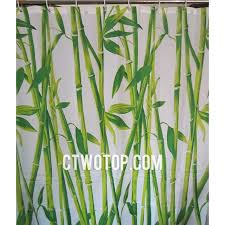 Unique Shower Curtains White And Green Bamboo Patterned Oriental Unique Shower Curtains