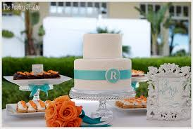 Wedding Cake Display Tangerine U0026 Teal Themed Wedding Cake Mini Cupcake Display By The