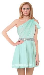 jeweled band one shoulder peek a boo mint green chiffon casual