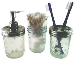 Glass Bathroom Accessories Sets Half Pint Quilted Mason Jar Bath Set Traditional Bathroom