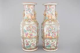 canton porcelain a pair of canton medallion porcelain vases 19th