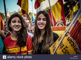 Flags In Spanish Barcelona Spain 12th October 2014 Two Girls With Spanish Flags