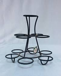 wrought iron black circle table top indoor herb garden planter