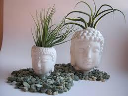 buddha head concrete statue plant pot pair two white